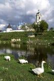 Θερινό τοπίο με τη λίμνη, τις χήνες και το μοναστήρι στοκ φωτογραφία με δικαίωμα ελεύθερης χρήσης