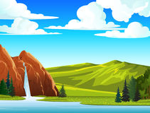 Θερινό τοπίο με τον καταρράκτη και τους λόφους Ελεύθερη απεικόνιση δικαιώματος