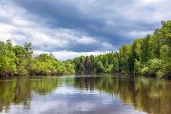 Θερινό τοπίο με τον ποταμό και δάσος σε μια ημέρα καταιγίδας Στοκ Φωτογραφία