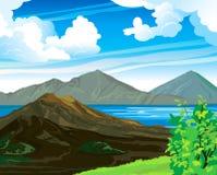 Θερινό τοπίο με το ηφαίστειο Ελεύθερη απεικόνιση δικαιώματος