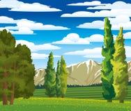 Θερινό τοπίο με το κυπαρίσσι και το λιβάδι Ελεύθερη απεικόνιση δικαιώματος