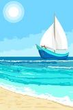 Θερινό τοπίο με sailboat το υπόβαθρο ελεύθερη απεικόνιση δικαιώματος