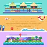 Θερινό τοπίο παραλιών Ωκεανός, βάρκες, ήλιος, φοίνικες διανυσματική απεικόνιση