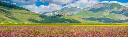 Θερινό τοπίο Grande πιάνων, Ουμβρία, Ιταλία Στοκ Φωτογραφία