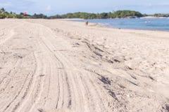 Θερινό τροπικό υπόβαθρο με την άμμο, τη θάλασσα και τον ουρανό Κάρτα καλοκαιριού Τροπικό νησί του Μπαλί, Ινδονησία Στοκ φωτογραφία με δικαίωμα ελεύθερης χρήσης