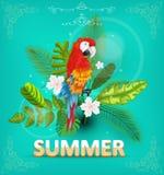 Θερινό υπόβαθρο με τις τροπικά εγκαταστάσεις και τα λουλούδια Για τυπογραφικό, έμβλημα, αφίσα, πρόσκληση κομμάτων διάνυσμα Στοκ Φωτογραφία