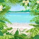 Θερινό υπόβαθρο με το τροπικό πλαίσιο στην παραλία διανυσματική απεικόνιση