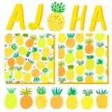 Θερινό υπόβαθρο της Χαβάης Aloha Πρότυπο απεικόνισης κομμάτων παραλιών, σχέδιο, που γράφει για την κάρτα πρόσκλησης Στοκ εικόνα με δικαίωμα ελεύθερης χρήσης