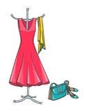 Θερινό φόρεμα με τα εξαρτήματα Στοκ φωτογραφίες με δικαίωμα ελεύθερης χρήσης