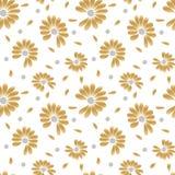 Θερινό χρυσό άνευ ραφής σχέδιο Λουλούδια Chamomile για την αφήγηση, την αγάπη ή όχι την αγάπη τύχης ελεύθερη απεικόνιση δικαιώματος