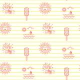 Θερινών παραλιών άνευ ραφής διανυσματικό σχέδιο εικονιδίων γραμμών ριγωτό Στοκ Φωτογραφίες
