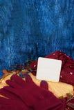 Θερμά burgundy γάντια με ένα μαντίλι και ένα καπέλο στο ξύλινο μπλε χρώμα υποβάθρου με τα φύλλα φθινοπώρου, και περιορίζοντας ένα Στοκ Φωτογραφίες