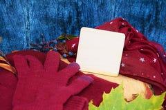 Θερμά burgundy γάντια με ένα μαντίλι και ένα καπέλο στο ξύλινο μπλε χρώμα υποβάθρου με τα φύλλα φθινοπώρου, και περιορίζοντας ένα Στοκ φωτογραφίες με δικαίωμα ελεύθερης χρήσης