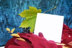 Θερμά burgundy γάντια με ένα μαντίλι και ένα καπέλο στο ξύλινο μπλε χρώμα υποβάθρου με τα φύλλα φθινοπώρου, και περιορίζοντας ένα Στοκ φωτογραφία με δικαίωμα ελεύθερης χρήσης