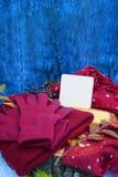 Θερμά burgundy γάντια με ένα μαντίλι και ένα καπέλο στο ξύλινο μπλε χρώμα υποβάθρου με τα φύλλα φθινοπώρου, και περιορίζοντας ένα Στοκ Εικόνα