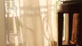 Θερμές τροπικές φυσώντας κουρτίνες αερακιού στο μπαλκόνι απόθεμα βίντεο