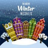 Θερμές χειμερινές επιθυμίες Λίγη πόλη κάτω από το χιόνι Διευκρινισμένη διάνυσμα ευχετήρια κάρτα, κάρτα, πρόσκληση διανυσματική απεικόνιση