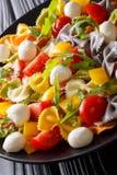 Θερμή σαλάτα των ζυμαρικών farfalle, των ντοματών, του arugula και της μοτσαρέλας γ Στοκ φωτογραφία με δικαίωμα ελεύθερης χρήσης