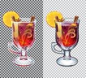 Θερμαμένη διαφανής απεικόνιση κρασιού Ποτό φθινοπώρου Στοκ φωτογραφίες με δικαίωμα ελεύθερης χρήσης