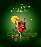 Θερμαμένη κάρτα απεικόνισης κρασιού Ποτό Χριστουγέννων Στοκ φωτογραφία με δικαίωμα ελεύθερης χρήσης