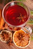 Θερμαμένο κρασί για το βράδυ Χριστουγέννων ή χειμώνα με τα καρυκεύματα στοκ φωτογραφία