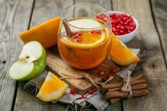 Θερμαμένο κρασί με τα πορτοκάλια, ρόδι Στοκ Εικόνα