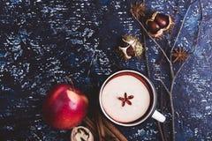 Θερμαμένο κρασί με τις φέτες μήλων Στοκ Εικόνα