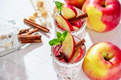 θερμαμένο κρασί στα γυαλιά διχτυών ψαρέματος σε ένα ελαφρύ υπόβαθρο, Apple, κανέλα, κρασί Στοκ φωτογραφίες με δικαίωμα ελεύθερης χρήσης