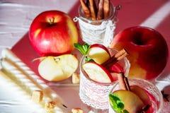 θερμαμένο κρασί στα γυαλιά διχτυών ψαρέματος σε ένα ελαφρύ υπόβαθρο, Apple, κανέλα, κρασί Στοκ Εικόνα