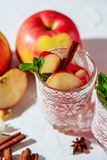 θερμαμένο κρασί στα γυαλιά διχτυών ψαρέματος σε ένα ελαφρύ υπόβαθρο, Apple, κανέλα, κρασί Στοκ Εικόνες
