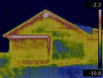 Θερμική εικόνα σπιτιών Στοκ εικόνα με δικαίωμα ελεύθερης χρήσης