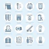 Θερμοσίφωνας, λέβητας, θερμοστάτης, ηλεκτρικός, αέριο, ηλιακές θερμάστρες και άλλα εικονίδια γραμμών εξοπλισμού θέρμανσης σπιτιών απεικόνιση αποθεμάτων