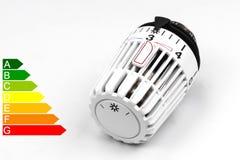 Θερμοστατική βαλβίδα θερμαντικών σωμάτων - δαπάνες θέρμανσης Στοκ Εικόνες