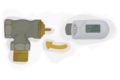 Θερμοστατική βαλβίδα με το ηλεκτρονικό θερμοστατικό κεφάλι για το διάνυσμα συστημάτων θέρμανσης Θέρμανση σπιτιών Στοκ Εικόνες