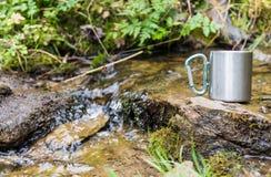 θερμο κούπα ανοξείδωτου κοντά στην άνοιξη βουνών Στοκ φωτογραφία με δικαίωμα ελεύθερης χρήσης