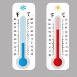 Θερμόμετρα μετεωρολογίας Θερμοκρασία κρύου και θερμότητας επίσης corel σύρετε το διάνυσμα απεικόνισης θερμόμετρα Κελσίου fahrenhe Στοκ Εικόνες