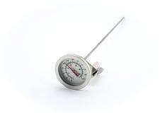 Θερμόμετρο ανοξείδωτου στο άσπρο υπόβαθρο Στοκ Εικόνες