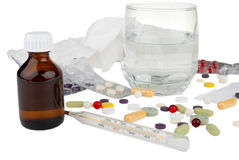 θερμόμετρο γυαλιού φαρμάκων ασπιρινών Στοκ Εικόνες