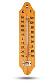 Θερμόμετρο στην ξύλινη βάση με την κλίμακα Κελσίου Εικονίδιο για τα des σας Στοκ φωτογραφία με δικαίωμα ελεύθερης χρήσης