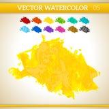 Θερμός κίτρινος διανυσματικός καλλιτεχνικός παφλασμός Watercolor Στοκ Εικόνα