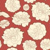 Θερμός κόκκινος άνευ ραφής κατάπληξης αυξήθηκε floral σχέδιο με τα σημεία Στοκ Φωτογραφία