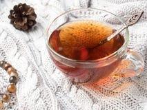 Θερμός πλέξτε το πουλόβερ, ένα φλυτζάνι του καυτού τσαγιού με τη σοκολάτα και τις χειμερινές διακοσμήσεις Στοκ Φωτογραφίες