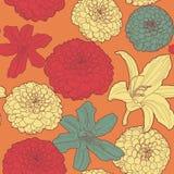 Θερμό άνευ ραφής floral εκλεκτής ποιότητας ιαπωνικό πορτοκαλί σχέδιο με τον κρίνο διανυσματική απεικόνιση