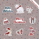 Θερμό θέμα δώρων επιθυμίας ετικέττα-αρκούδα-πουλιών Χριστουγέννων Στοκ Εικόνες