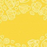 Θερμό κατασκευασμένο υπόβαθρο με τα εξαρτήματα τσαγιού doodle Διανυσματική απεικόνιση