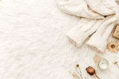 Θερμό πουλόβερ και ξηρά λουλούδια στο άσπρο υπόβαθρο στοκ φωτογραφία με δικαίωμα ελεύθερης χρήσης