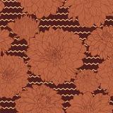 Θερμό όμορφο καφετί floral σχέδιο διανυσματική απεικόνιση