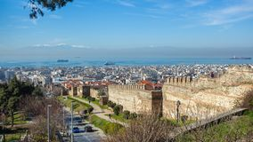 10 03 2018 Θεσσαλονίκη, Ελλάδα - πανοραμική άποψη Θεσσαλονίκης Στοκ εικόνα με δικαίωμα ελεύθερης χρήσης