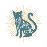 Θετική αφίσα με τη σκιαγραφία γατών Στοκ Εικόνες