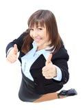 Θετική γυναίκα που απομονώνεται επιχειρησιακή στο λευκό στοκ φωτογραφία